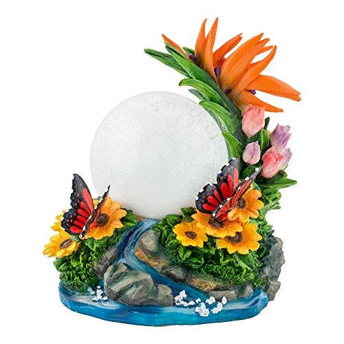 Butterfly with Flowers 100mm Resin 3D Water Globe Plays Tune You are My Sunshine