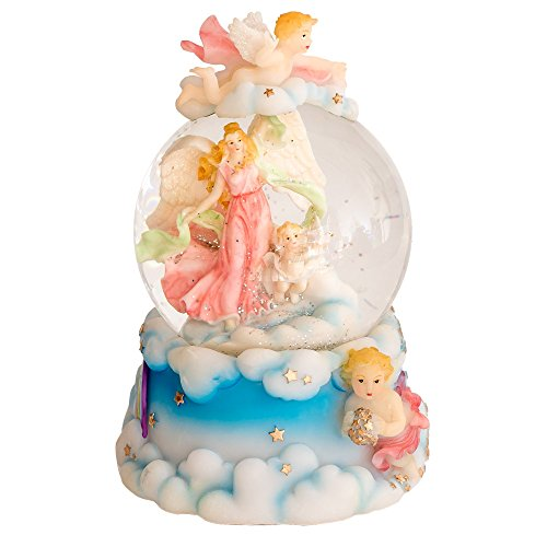 Angels 100MM Resin Stone 3D Musical Water Globe Plays Tune Wind Beneath My Wings
