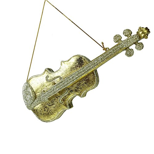 10″ Seasons of Elegance Antique-Style Gold Glitter Violin Christmas Ornament