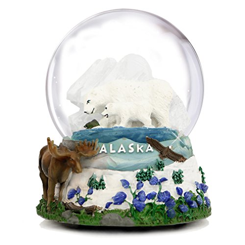 "Musical Alaska Snow Globe, (5.5 Inches Tall) Alaska Snow Globes, PLAYS ""Dark Eyes"""