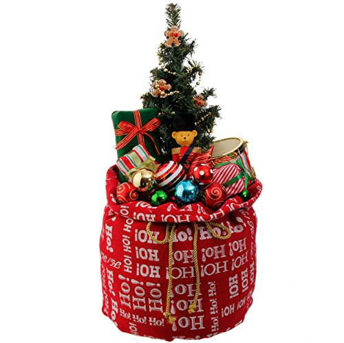 Lighted Christmas Tree in Red Santa's bag with Toys and Ornaments, 24 Inch x 12 inch, Battery Operated