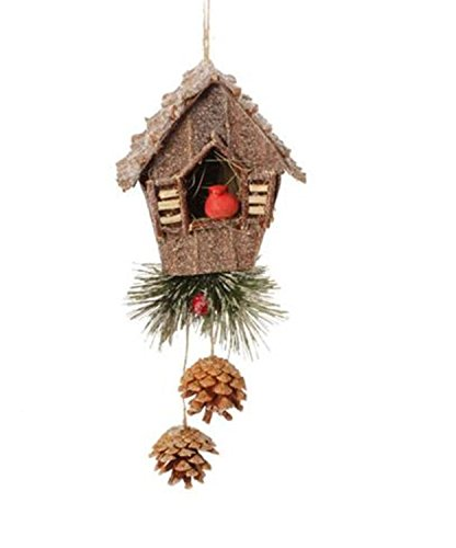 7.5″ In the Birches Birdhouse and Red Cardinal Christmas Ornament