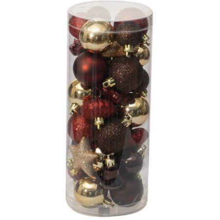 Christmas Ornaments Traditional Mini, Set of 40, Dark Red / Brown / Champagne (1)