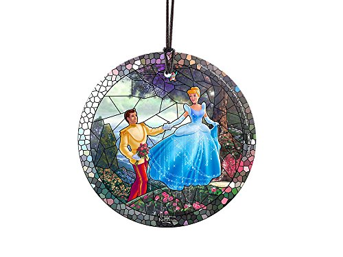 Thomas Kinkade Disney Cinderella Stained Glass Effect StarFire Prints Glass Ornament – Home and Christmas Tree Decoration