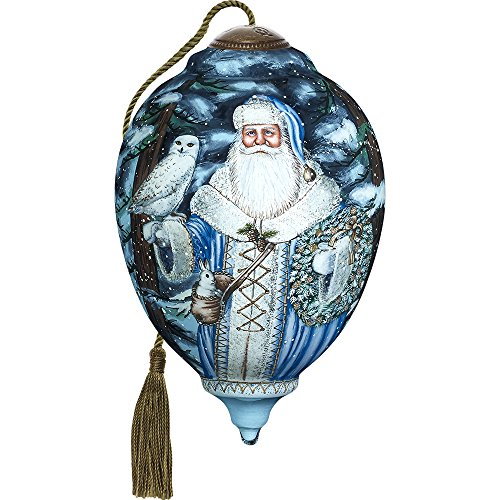 Precious Moments, Ne'Qwa Art 7171102 Hand Painted Blown Glass Santa Of The North Ornament Limited Edition Princess Shaped, 6.75-inches