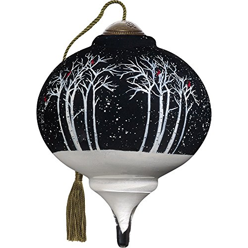 Precious Moments, Ne'Qwa Art 7171184 Hand Painted Blown Glass Petite Marquis Shaped Let It Snow Ornament, 3-inches