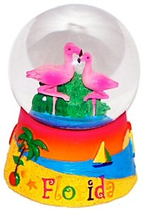 Florida Snow Globe – Flamingos 45MM Small, Florida Snow Globes, Florida Snow Domes, Florida Souvenirs