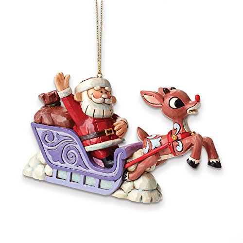 Rudolph Jim Shore Santa in Sleigh with Rudolph Leading the Way Ornament