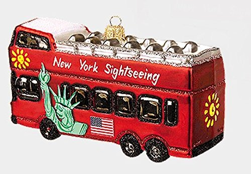 New York City Tour Bus NYC Polish Glass Christmas Ornament Travel Decoration