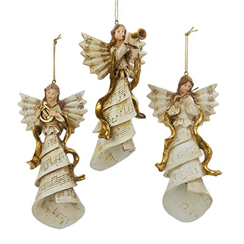 Kurt Adler Polyresin Angel W/musical Instrument Ornament