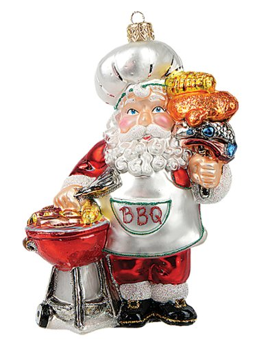 BBQ Barbeque Santa Polish Mouth Blown Glass Christmas Ornament Tree Decoration