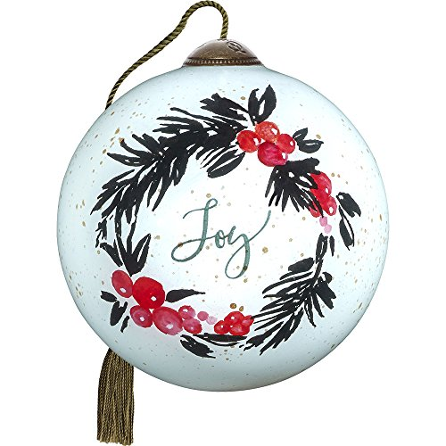Precious Moments, Ne'Qwa Art 7171185 Hand Painted Blown Glass Petite Round Shaped May Your Season Be Filled With Joy Wreath Ornament, 2.5-inches