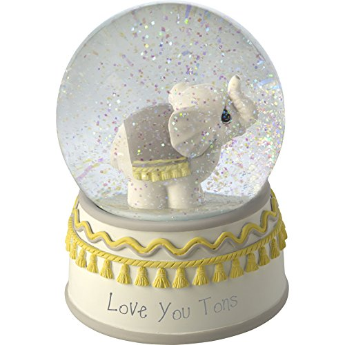 Precious Moments Love You Tons Resin/Glass Elephant Musical Snow Globe, Gray Chevron