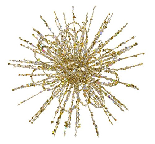 Vickerman 8″ Champagne Glitter Flower Blossom Sequined Christmas Ornament