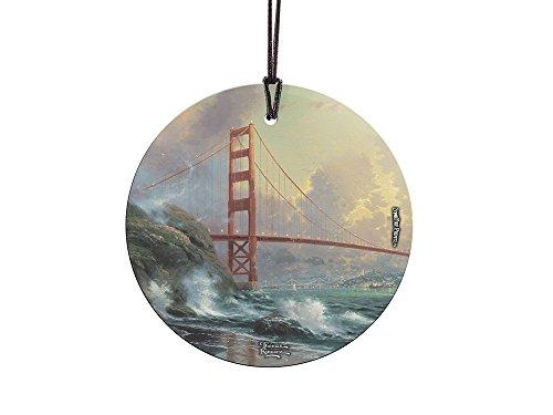 Thomas Kinkade San Francisco, Golden Gate Bridge StarFire Prints Glass Ornament – Home and Christmas Tree Decoration