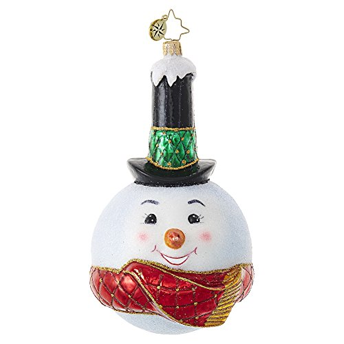 Christopher Radko Snowy Stovepipe Snowman Themed Glass Christmas Ornament – 6″H.