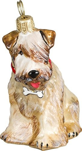 Soft Coated Wheaten Terrier Dog with Bone Collar Polish Glass Christmas Ornament
