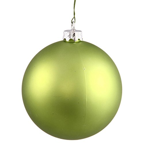 Vickerman Matte Lime Green UV Resistant Commercial Shatterproof Christmas Ball Ornament, 4″
