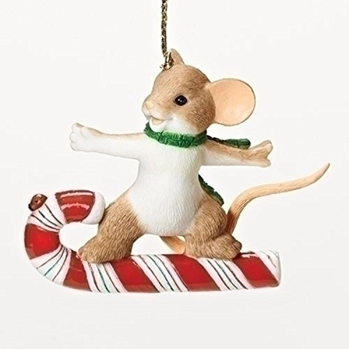 "2.5″ Charming Tails Winter ""Cane"" Be Sweet Fun Mouse Collectible Christmas Ornament"