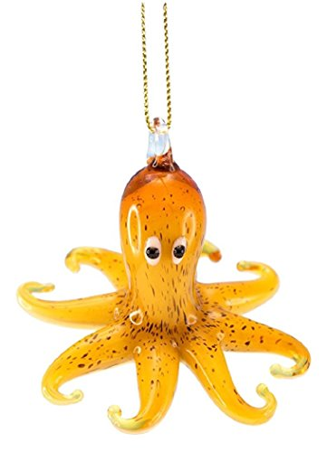 Glass Octopus Hanging Ornament (Amber)