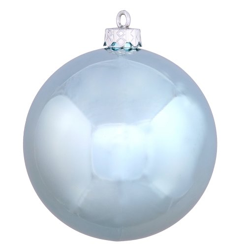 Vickerman Shiny Finish Seamless Shatterproof Christmas Ball Ornament, UV Resistant with Drilled Cap, 8″, Baby Blue