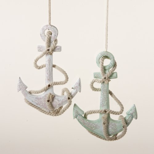 Kurt Adler Set OF 2 Assorted Colors Wooden Anchor Ornaments