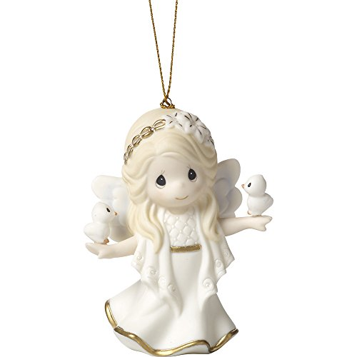 Precious Moments In His Perfect Peace And Love Seventh in Annual Angel Series Bisque Porcelain Ornament 171028