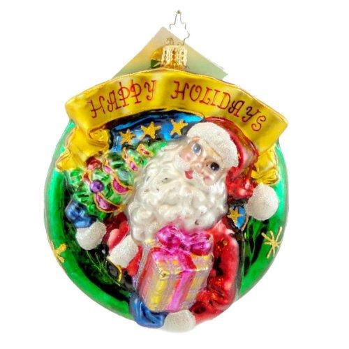 Christopher Radko HOLLY BELLS HOLIDAY Blown Glass Ornament Santa Wreath