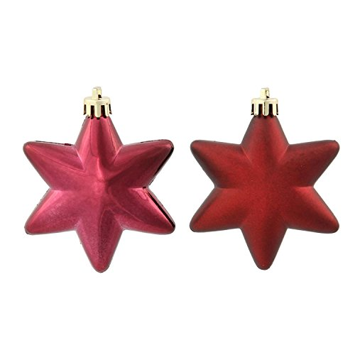 36ct Matte & Shiny Burgundy Star Shatterproof Christmas Ornaments 1.5″-2″