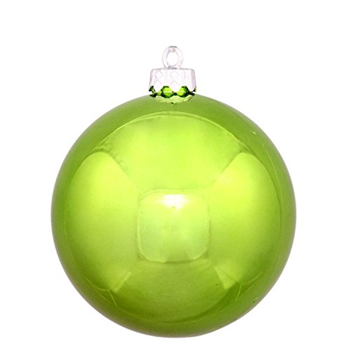 Vickerman Shiny Green Kiwi Commercial Shatterproof Christmas Ball Ornament, 8″