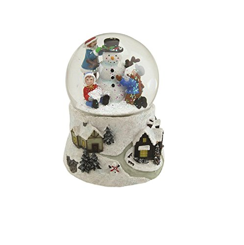 Northlight 5.5″ Snowman and Children Musical Swirling Christmas Snow Globe Glitterdome