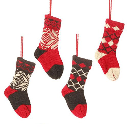 Christmas Cabin Knit Christmas Stocking Ornaments – Set of 4 3316352