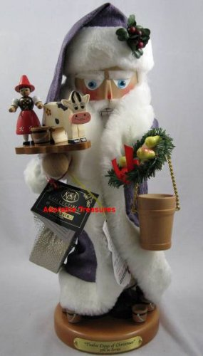 Signed Karla Steinbach Wood Nutcracker *8 Maids Milking* 5th in 12 Days of Christmas Series