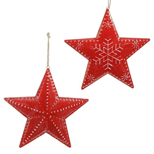 Red Star Ornament 7.5″, set of 2