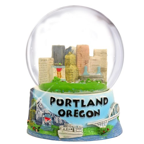 Portland Oregon Snow Globe with Skyline and Mountain Scene (65mm)