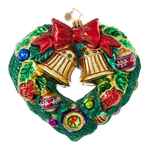 Christopher Radko Heart-Shaped Wreaths & Warmth Christmas Ornament