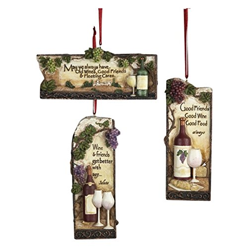 Kurt Adler 4-1/2-Inch Resin Tuscan Plaque Ornament, Set of 3