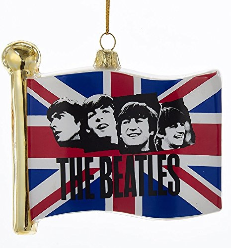 Kurt Adler 4.5″ Beatles Union Jack Flag Glass Ornament