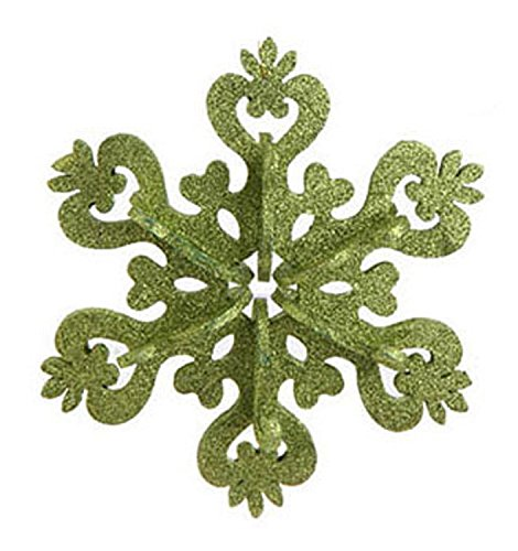 9″ Christmas Brites Large Green Glitter Drenched Snowflake Ornament