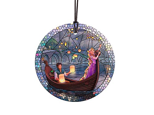 Thomas Kinkade Disney Tangled Stained Glass Effect StarFire Prints Glass Ornament – Home and Christmas Tree Decoration