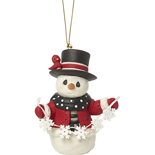 Precious Moments May All Your Christmases Be White Eighth in Annual Snowman Series Bisque Porcelain Ornament 171016