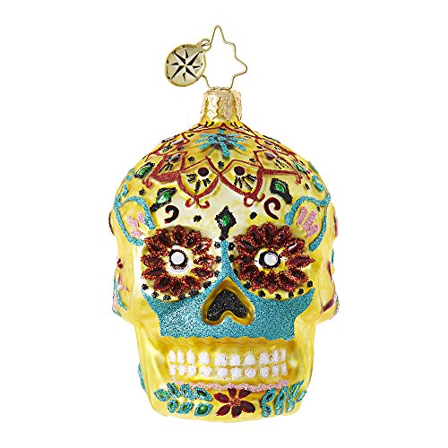 Radko Skull Gem Gold Day Of The Dead Glass Ornament Made in Poland Halloween