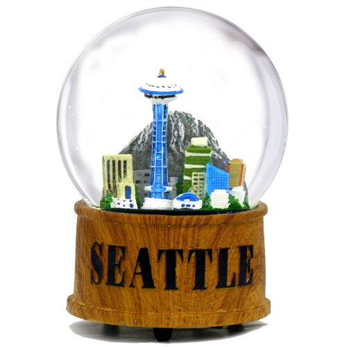 Seattle Snow Globe Musical Glass Dome with Skyline and Space Needle in Seattle Snow Globes Collection, 5.5 Inches