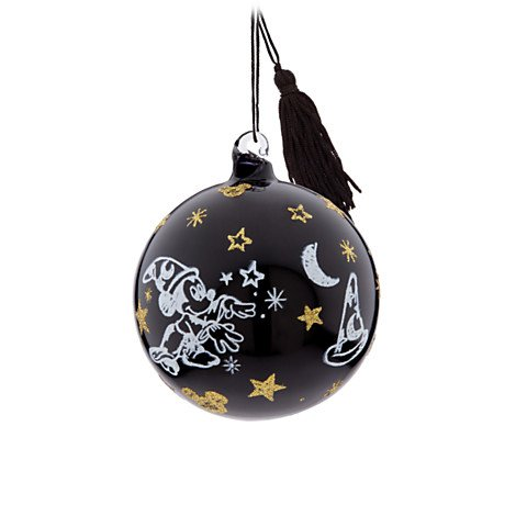 Disney Mickey Mouse Sorcerer Christmas Ornament – Black Glass Ball Ornament – Disney Parks Exclusive