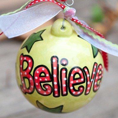 """Believe"" Polka Dot Ball Ornament"