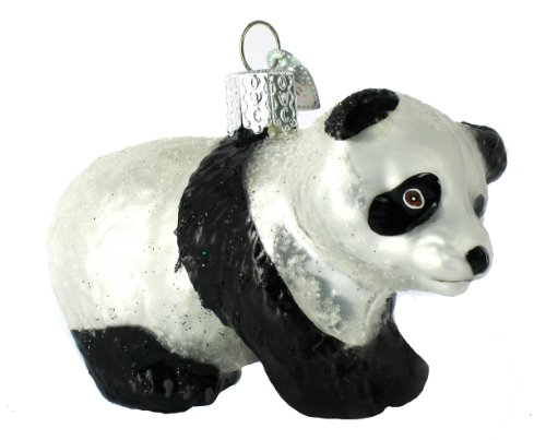 Old World Christmas Panda Cub Glass Blown Ornament