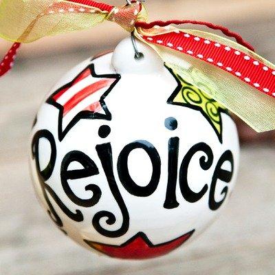 """Rejoice"" Polka Dot Ball Ornament"