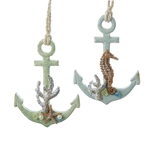 Kurt Adler 1 Set 2 Assorted Anchor With Shells Wood Christmas Ornaments