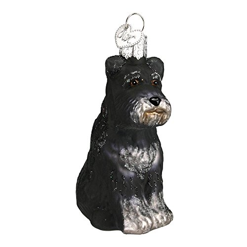 Old World Christmas Glass Blown Black Schnauzer Ornament