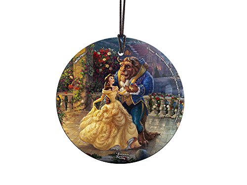 Thomas Kinkade Disney Dancing in the Moonlight Beauty and the Beast StarFire Prints Glass Ornament – Home and Christmas Tree Decoration